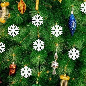 LEZED Holz Schneeflocken Anhänger für Weihnachten 100 STK Holz Schneeflocke Fensterdeko Mini Streuteile Schneeflocken Ausgehöhlten Schneeflocken Verzierungen für Winterliche Weihnachts Tischdeko 35mm - 6