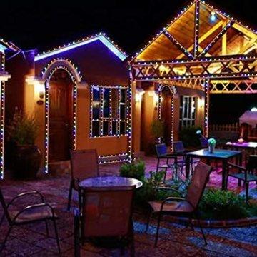 Lichterkette Außen bunt Glühbirnen, 12M 120 LED mit 31V Transformator, 8 Modi Weihnachten Lichterketten für Party Garten Balkon und Innen, Weihnachten, Kinderzimmer, Party, DIY usw, (Mehrfarbig) - 2