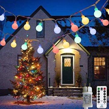 Lichterkette Außen bunt Glühbirnen, 12M 120 LED mit 31V Transformator, 8 Modi Weihnachten Lichterketten für Party Garten Balkon und Innen, Weihnachten, Kinderzimmer, Party, DIY usw, (Mehrfarbig) - 1