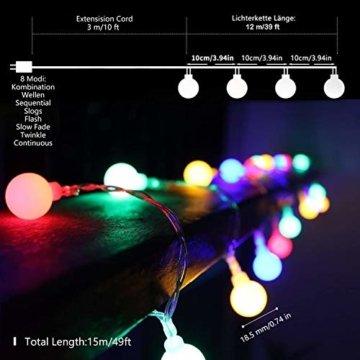 Lichterkette Außen bunt Glühbirnen, 12M 120 LED mit 31V Transformator, 8 Modi Weihnachten Lichterketten für Party Garten Balkon und Innen, Weihnachten, Kinderzimmer, Party, DIY usw, (Mehrfarbig) - 5