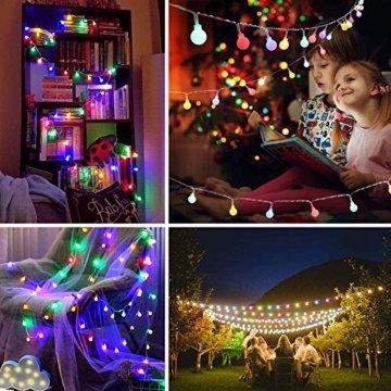 Lichterkette Außen bunt Glühbirnen, 12M 120 LED mit 31V Transformator, 8 Modi Weihnachten Lichterketten für Party Garten Balkon und Innen, Weihnachten, Kinderzimmer, Party, DIY usw, (Mehrfarbig) - 6