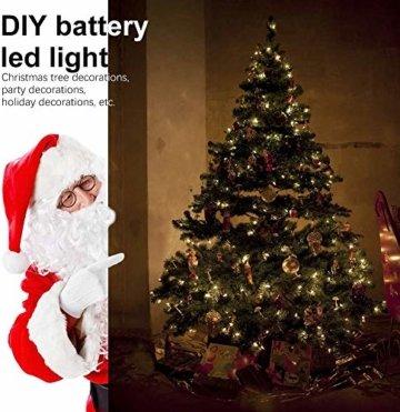 Lichterkette Batterie, 2er 12M 120 LED Lichterketten 8 Modi Außenbeleuchtung Kupferdraht Wasserdichte IP68 mit Fernbedienung und Timer für Outdoor, Innen, Außen, Weihnacht und Deko (Warmweiß) - 4