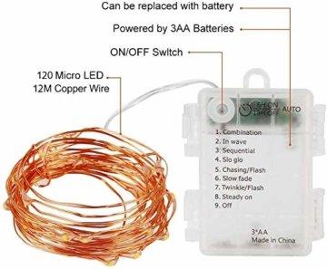 Lichterkette Batterie, 2er 12M 120 LED Lichterketten 8 Modi Außenbeleuchtung Kupferdraht Wasserdichte IP68 mit Fernbedienung und Timer für Outdoor, Innen, Außen, Weihnacht und Deko (Warmweiß) - 5