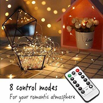 Lichterkette Batterie, 2er 12M 120 LED Lichterketten 8 Modi Außenbeleuchtung Kupferdraht Wasserdichte IP68 mit Fernbedienung und Timer für Outdoor, Innen, Außen, Weihnacht und Deko (Warmweiß) - 7