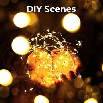 Lichterkette Batterie, Litogo Lichterketten für Zimmer 5m 50er Micro LED Lichterkette Draht Mini Fairy Lights Wasserdicht Feenlichter Innen Deko für Weihnachten Halloween Party Hochzeit (Warmweiß) - 2