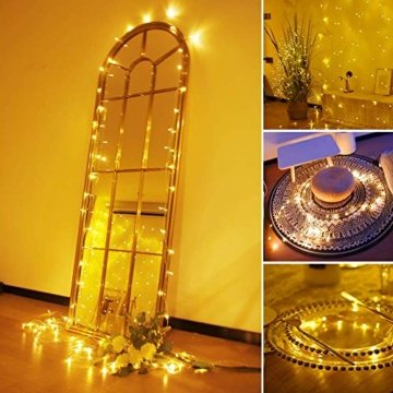 Lichterkette Batterie, Litogo Lichterketten für Zimmer 5m 50er Micro LED Lichterkette Draht Mini Fairy Lights Wasserdicht Feenlichter Innen Deko für Weihnachten Halloween Party Hochzeit (Warmweiß) - 7