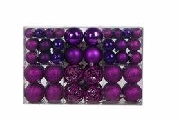 Lifestyle & More 100 teilig Weihnachtskugeln Lila Weihnachtsbaumschmuck Weihnachtsbaumkugeln 100 Metallhaken Anhänger Bruchsicher - 1
