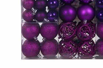 Lifestyle & More 100 teilig Weihnachtskugeln Lila Weihnachtsbaumschmuck Weihnachtsbaumkugeln 100 Metallhaken Anhänger Bruchsicher - 4