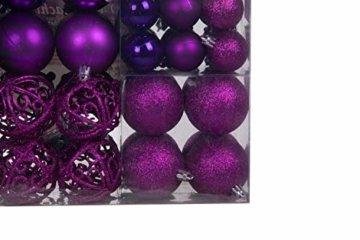 Lifestyle & More 100 teilig Weihnachtskugeln Lila Weihnachtsbaumschmuck Weihnachtsbaumkugeln 100 Metallhaken Anhänger Bruchsicher - 5
