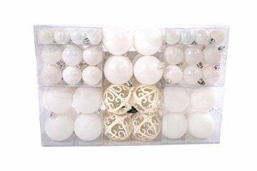Lifestyle & More 100 teilig Weihnachtskugeln Weiß Weihnachtsbaumschmuck Weihnachtsbaumkugeln 100 Metallhaken Anhänger Bruchsicher (Weiss) - 2