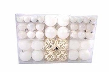 Lifestyle & More 100 teilig Weihnachtskugeln Weiß Weihnachtsbaumschmuck Weihnachtsbaumkugeln 100 Metallhaken Anhänger Bruchsicher (Weiss) - 3