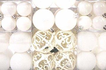 Lifestyle & More 100 teilig Weihnachtskugeln Weiß Weihnachtsbaumschmuck Weihnachtsbaumkugeln 100 Metallhaken Anhänger Bruchsicher (Weiss) - 4