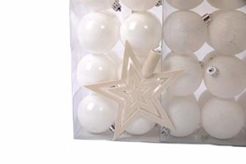 Lifestyle & More Weihnachtskugeln Christbaumkugeln Set 61 teilig mit nur Großen Kugeln Ø 6 cm Weiß inklusive Sternspitze und passenden Anhängern - 3