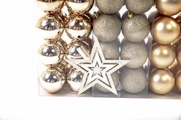 Lifestyle & More Weihnachtskugeln Christbaumkugeln Set 61 teilig mit nur Großen Kugeln Ø 6 cm Champagner inklusive Sternspitze und passenden Anhängern - 3