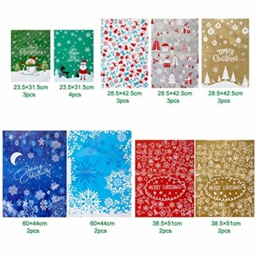 LIHAO 24 x Geschenktüte Geschenkverpackung zum Befüllen Deko Geschenkbeutel Weihnachten Tüte mit Bänder Aufkleber Verschiedene Größe für Party - 2