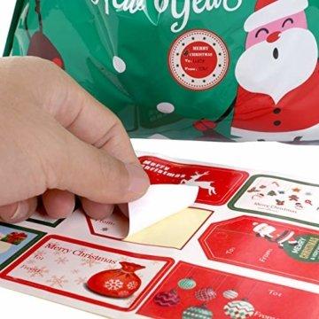LIHAO 24 x Geschenktüte Geschenkverpackung zum Befüllen Deko Geschenkbeutel Weihnachten Tüte mit Bänder Aufkleber Verschiedene Größe für Party - 3