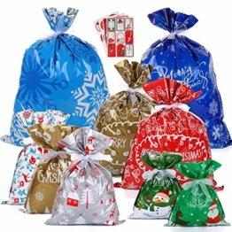 LIHAO 24 x Geschenktüte Geschenkverpackung zum Befüllen Deko Geschenkbeutel Weihnachten Tüte mit Bänder Aufkleber Verschiedene Größe für Party - 1