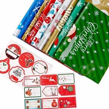 LIHAO 24 x Geschenktüte Geschenkverpackung zum Befüllen Deko Geschenkbeutel Weihnachten Tüte mit Bänder Aufkleber Verschiedene Größe für Party - 4
