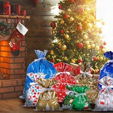 LIHAO 24 x Geschenktüte Geschenkverpackung zum Befüllen Deko Geschenkbeutel Weihnachten Tüte mit Bänder Aufkleber Verschiedene Größe für Party - 7