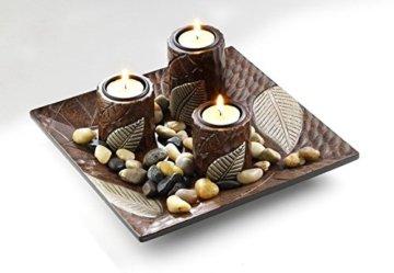 Locker Dekoschale mit DREI Kerzenhalter aus Holz - 1