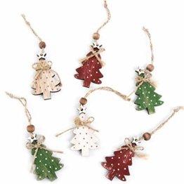 Logbuch-Verlag 6 kleine Weihnachtsbäume Anhänger Baumschmuck Baumbehang Baum Geschenkanhänger Weihnachten Holz rot grün Natur Weihnachtsdeko gepunktet - 1