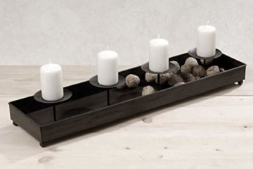 LS-LebenStil Kerzenhalter Metall 60cm Schwarz Advent Kerzen-Tablett Kerzenschale - 6