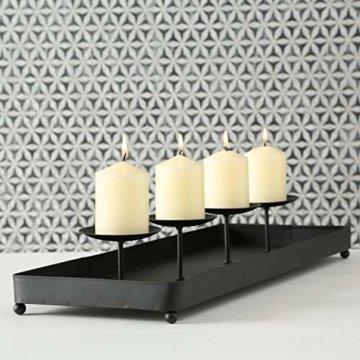 LS-LebenStil Kerzenhalter Metall 60cm Schwarz Advent Kerzen-Tablett Kerzenschale - 7