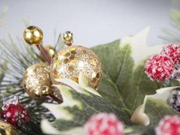 LTWHOME WHCMCGB Dmr 56cm Handgemachter Weihnachtskranz mit Kiefernnadeln, Holly Leaves, Weihnachtskugeln für Haus, Tür, Wand, Kaminsims, Fenster - 3