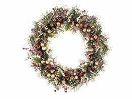 LTWHOME WHCMCGB Dmr 56cm Handgemachter Weihnachtskranz mit Kiefernnadeln, Holly Leaves, Weihnachtskugeln für Haus, Tür, Wand, Kaminsims, Fenster - 1