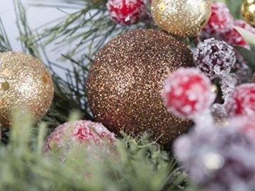 LTWHOME WHCMCGB Dmr 56cm Handgemachter Weihnachtskranz mit Kiefernnadeln, Holly Leaves, Weihnachtskugeln für Haus, Tür, Wand, Kaminsims, Fenster - 4