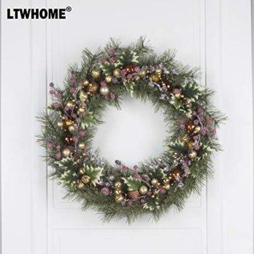 LTWHOME WHCMCGB Dmr 56cm Handgemachter Weihnachtskranz mit Kiefernnadeln, Holly Leaves, Weihnachtskugeln für Haus, Tür, Wand, Kaminsims, Fenster - 5