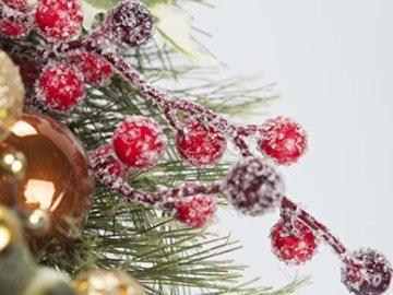 LTWHOME WHCMCGB Dmr 56cm Handgemachter Weihnachtskranz mit Kiefernnadeln, Holly Leaves, Weihnachtskugeln für Haus, Tür, Wand, Kaminsims, Fenster - 6