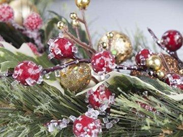 LTWHOME WHCMCGB Dmr 56cm Handgemachter Weihnachtskranz mit Kiefernnadeln, Holly Leaves, Weihnachtskugeln für Haus, Tür, Wand, Kaminsims, Fenster - 7