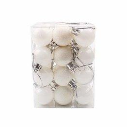 Luccase Kunststoff Christbaumkugeln 30mm Weihnachten Xmas Baum Ball Christbaumkugel Hängen Zuhause Party Ornament Dekor, 24 Teile / Paket (Weiß) - 1