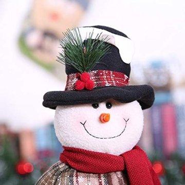 Luccase Mehrfarbig Baumwolle Puppe 45x25cm Niedliche Weihnachtsmann / Elch / Schneemann Weihnachts Rückziehbare Weihnachtspuppe für Sofas Bettwäsche Dekor (C) - 3