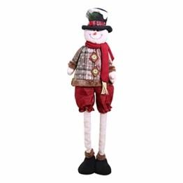 Luccase Mehrfarbig Baumwolle Puppe 45x25cm Niedliche Weihnachtsmann / Elch / Schneemann Weihnachts Rückziehbare Weihnachtspuppe für Sofas Bettwäsche Dekor (C) - 1