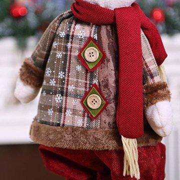 Luccase Mehrfarbig Baumwolle Puppe 45x25cm Niedliche Weihnachtsmann / Elch / Schneemann Weihnachts Rückziehbare Weihnachtspuppe für Sofas Bettwäsche Dekor (C) - 4