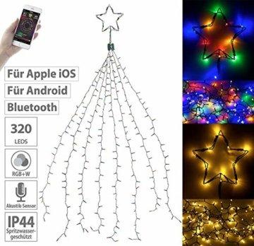 Lunartec Christbaumbeleuchtung: Christbaum-Überwurf-Lichterkette, 320 RGBW-LEDs, Bluetooth & App, IP44 (Christbaumlichterkette) - 5