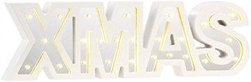 Lunartec LED Deko: LED-Schriftzug Xmas aus Holz & Spiegeln mit Timer & Batteriebetrieb (Xmas Schriftzug beleuchtet) - 2