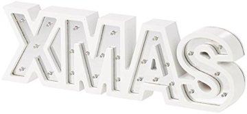 Lunartec LED Deko: LED-Schriftzug Xmas aus Holz & Spiegeln mit Timer & Batteriebetrieb (Xmas Schriftzug beleuchtet) - 4