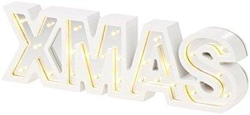 Lunartec LED Deko: LED-Schriftzug Xmas aus Holz & Spiegeln mit Timer & Batteriebetrieb (Xmas Schriftzug beleuchtet) - 7