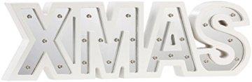 Lunartec LED Deko: LED-Schriftzug Xmas aus Holz & Spiegeln mit Timer & Batteriebetrieb (Xmas Schriftzug beleuchtet) - 8