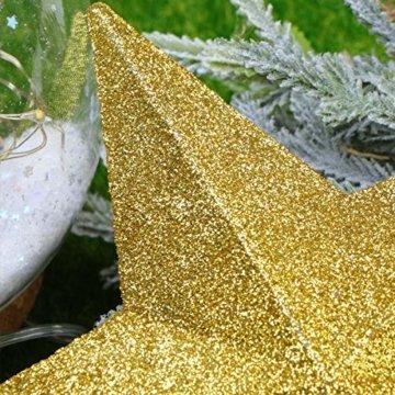 LUOEM Weihnachtsbaumspitze Stern Baumschmuck Glitzernde (Golden) - 3