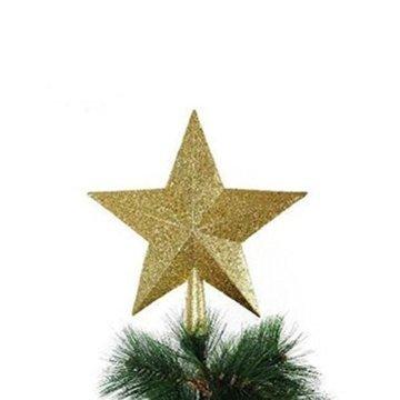 LUOEM Weihnachtsbaumspitze Stern Baumschmuck Glitzernde (Golden) - 4
