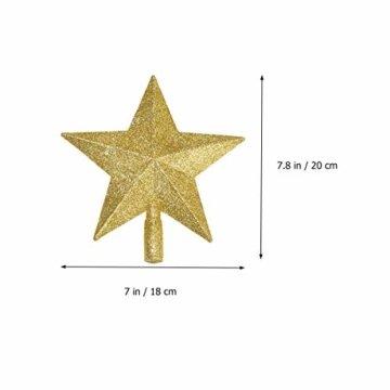 LUOEM Weihnachtsbaumspitze Stern Baumschmuck Glitzernde (Golden) - 6