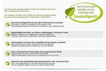 Luxflair Schönes 4er Set Filz Platzset, Graumeliert mit bestickter Bestecktasche Motiv Hirsch, waschbar. Platzmatte je 30x45cm, Bestecktasche 9,5x15,5cm. - 4