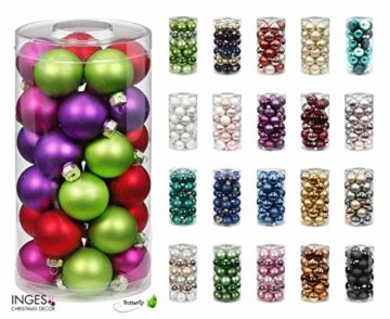 MAGIC Weihnachtskugeln Glas 4cm, 30 Stück Christbaumkugeln Deko Weihnachten Farbe: Just White-Mix (weiß) - 2