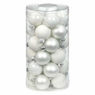 MAGIC Weihnachtskugeln Glas 4cm, 30 Stück Christbaumkugeln Deko Weihnachten Farbe: Just White-Mix (weiß) - 1