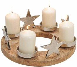 matches21 Adventskranz Adventsgesteck mit Sternen & Kerzenhalter aus Metall & Holz Deko Silber/braun Ø 30x13 cm - 1