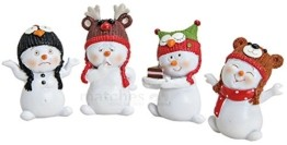 matches21 Schneemann Deko Figuren Tiermotiv Wintermützen Weihnachten Dekoration 4er Set aus Kunststoff je ca. 4x3x6 cm - 1